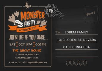 Halloween Monster Party postcard invitation template. Halloween RSVP card background. Vector illustration