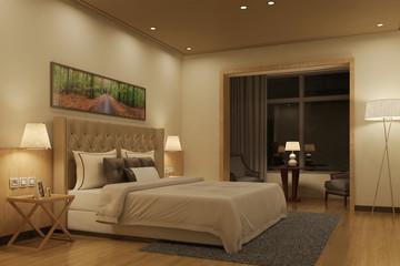 Beleuchtetes Schlafzimmer in der Nacht