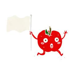 cartoon funny apple with flag