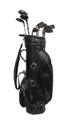 Black leather golf bag isolated on white
