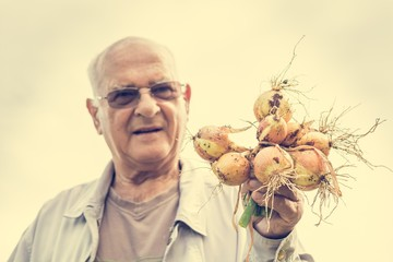 Senior man holding onions.