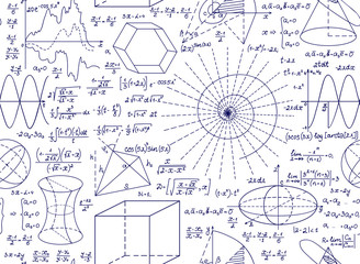 Mathematical vector seamless pattern with plots, figures and formulas. Endless mathematical texture