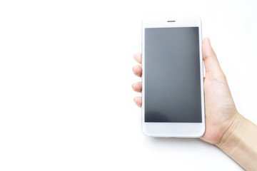 Hand holding Smartphone isolate on white background
