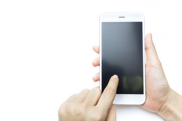 Hand holding and touching Smartphone isolate on white background