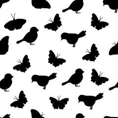 silhouette bird pattern seamless butterfly monochrome