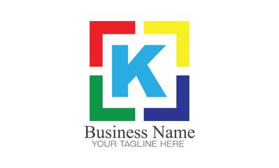 Simple Logo Letter K With Square Frame Target Illustration Design