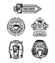 Set of vintage coffee labels and cafe logos. Vector isolated illustrations on white background.