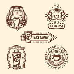Set of hipster vintage coffee labels. Vector cafe logos. Retro style.