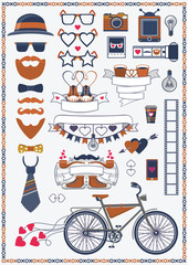 Vector collection of hipster wedding objects and signs. Decorative design elements for wedding card and invitation and infographics.