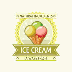 Label with a ice cream icon in the frame with the ribbon. Vector design.