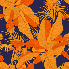 trendy tropical fabric seamless pattern, red palm leaves on dark navy background, vector illustration