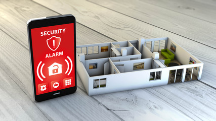 Obraz security alarm smartphone with flat mock-up - fototapety do salonu