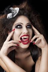 Sexy red lips vampire