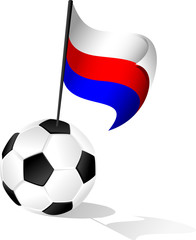 Soccer Ball or FootBall with Flag of Russia