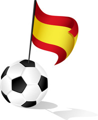 Soccer Ball or FootBall with Flag of Spain