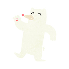 cartoon waving polar bear