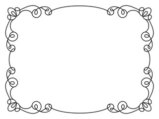 Calligraphic rectangle frame in retro style