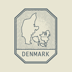 Stamp with the name and map of Denmark, vector