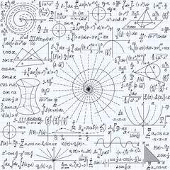 """Math vector seamless texture with plots, calculations, geometrical figures and different formulas, """"handwritten on a copybook grid paper"""""""