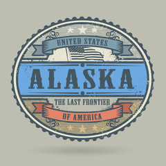 Vintage stamp with the text United States of America, Alaska