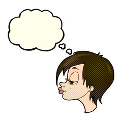 cartoon pretty woman with thought bubble
