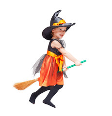 Halloween. Witch child flying Isolated on white