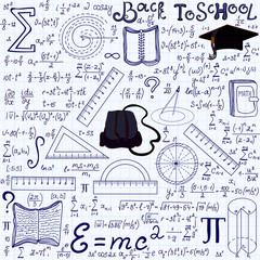 """Mathematical educational vector seamless pattern with geometry figures, plots, equations, words """"Back to school"""", and other school tools, """"handwritten on the grid copybook paper"""". Endless math texture"""