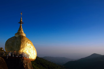Golden Rock, one of the most sacred buddhist stupa in Myanmar (Burma)