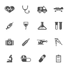 Vector grey medical icons set on white background