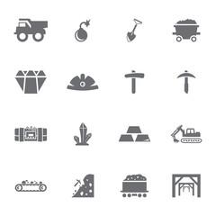 Vector grey mining icon set on white background