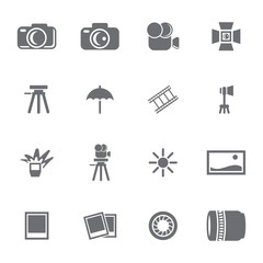 Vector grey photo icon set on white background