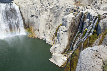 Shoshone Falls, Snake River Canyon showing rainbow in late summe