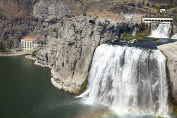 Shoshone Falls, Snake River Canyon, with Hydroelectric power hou