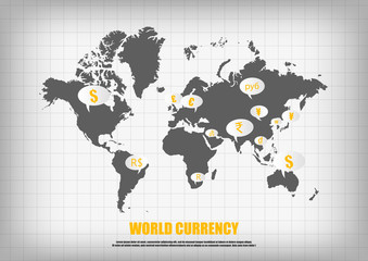 Vector : World map and currency in bubble quotes for each countr