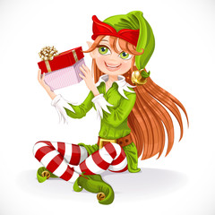 Cute girl Santa elf sit on floor hold gift