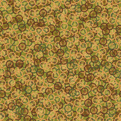 Seamless pattern with bike wheels in khaki camouflage style. Bicycle wheels with colored tire, rims and spokes. Vector illustration.