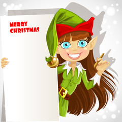 Cute girl Christmas elf with a banner