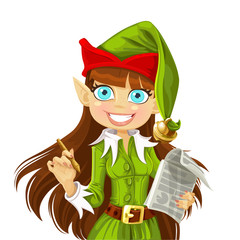 Girl Christmas Elf with pen ready to write