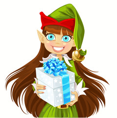 Cute girl Elf give christmas gift