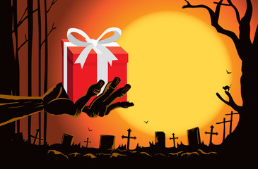 Zombie hand holding gift box in the grave in the cemetery at night. This illustration is Halloween theme
