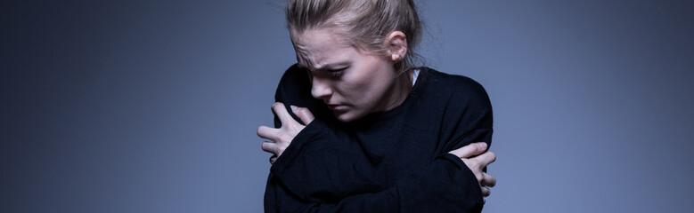 Skinny woman with mental illness