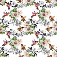 Tropical floral watercolor seamless pattern with colibris and