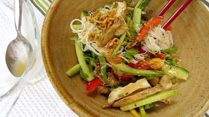 Saigon noodle salad with spoon