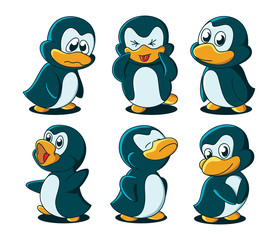 Cute cartoon baby penguins. No gradients, all in separate layers