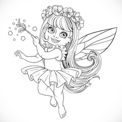 Cute little spring fairy girl in tutu with Magic wand outline is