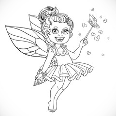 Cute little summer fairy girl with a Magic wand outline isolated