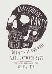Vector Halloween Party Invitation with hand drawn skull