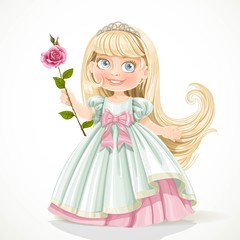 Cute little princess with long hair in tiara isolated on white b
