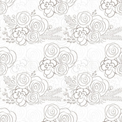 Hand drawn delicate decorative vintage seamless pattern with blossom flowers. Vector illustration