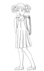 Hand drawn schoolgirl with backpack Vector sketch